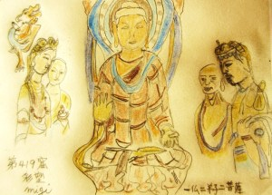 莫高第419窟 三尊像と力士像