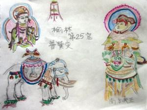 楡林第25窟 普賢菩薩と南方天王